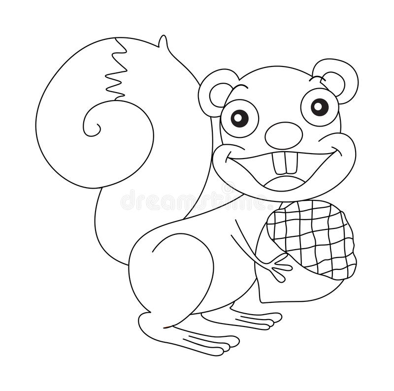 Free Animal Outline For Squirrel And Nut Stock Photos - 90639383