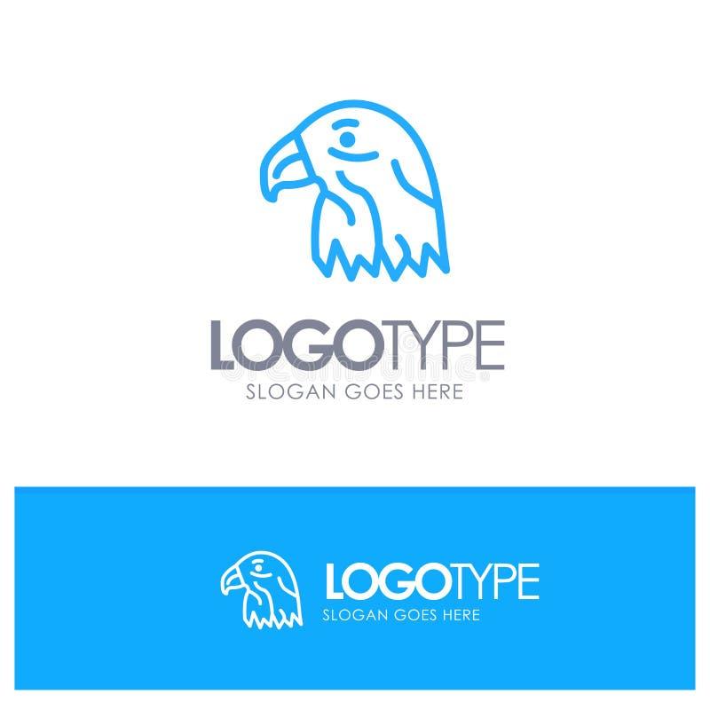 Animal, pássaro, Eagle, esboço azul Logo Place dos EUA para o Tagline ilustração stock