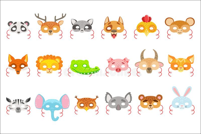 Animal Paper Masks Set Of Icons. Masks For Kids Carnival Costumes In Simple Colorful Style Isolated On White Background.  stock illustration