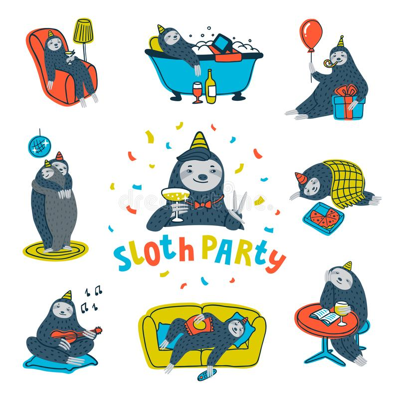 Animal party. Lazy sloth party. Cute sloths having fun at a lazy party. Vector illustration. Animal party. Lazy sloth party. Cute sloths having fun at a lazy stock illustration
