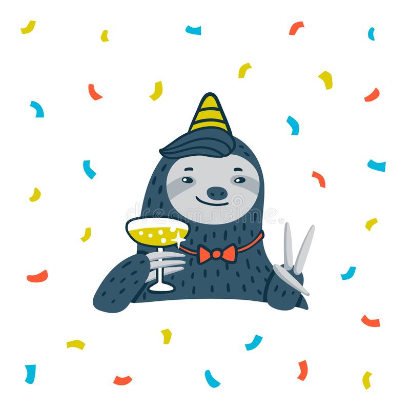 Animal party. Lazy sloth party. Cute sloth with champagne. Like the meme of the great gatsby. Vector illustration stock illustration