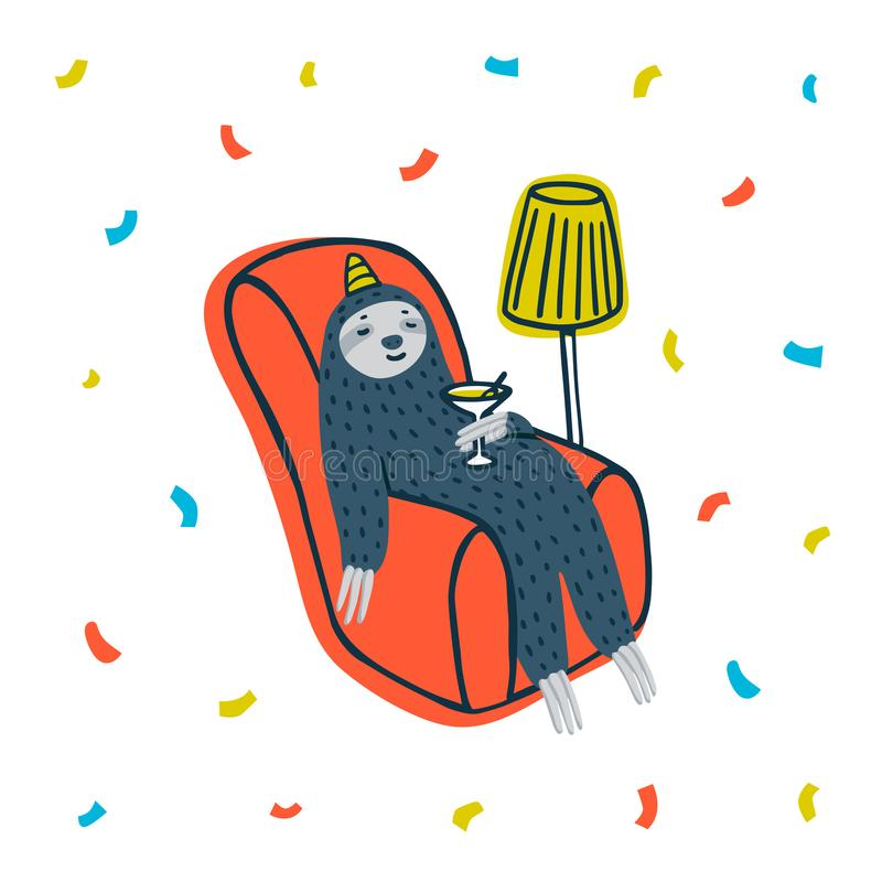 Animal party. Lazy sloth party. Cute sloth drinking a cocktail in cozy armchair. Vector illustration. royalty free illustration