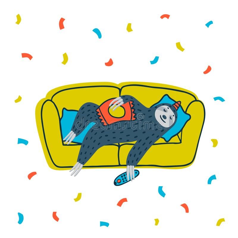 Animal party. Lazy sloth party. Cute sloth lying on the couch with TV remote. Vector illustration. stock illustration