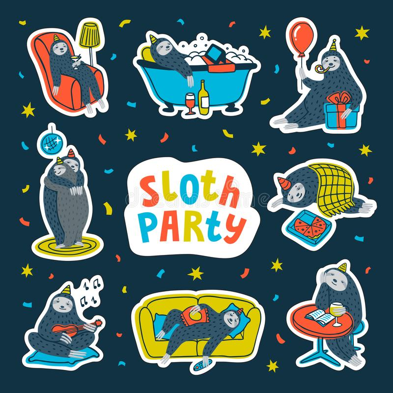 Animal party. Lazy sloth party. Cute sloths having fun at a lazy party. Vector illustration. Animal party sticker pack. Lazy sloth party. Cute sloths having fun vector illustration