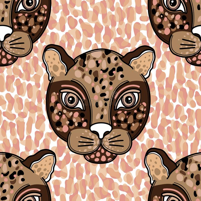 Animal pattern face leopard creative concept.Hand drawn naive style. Vector illustration vector illustration