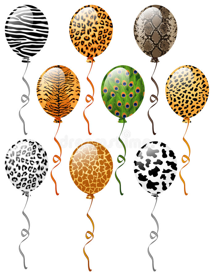 Animal patterns balloons vector illustration