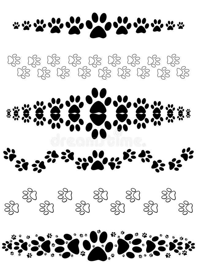 Animal paw print dividers. Collection of six black decorative animal print tracks; use as page, text or paragraph dividers breaks frames borders edges; isolated royalty free illustration