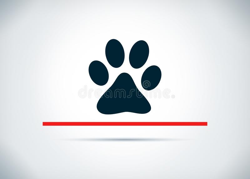 Animal paw print icon abstract flat background design illustration. Animal paw print icon isolated on abstract flat background design illustration stock illustration