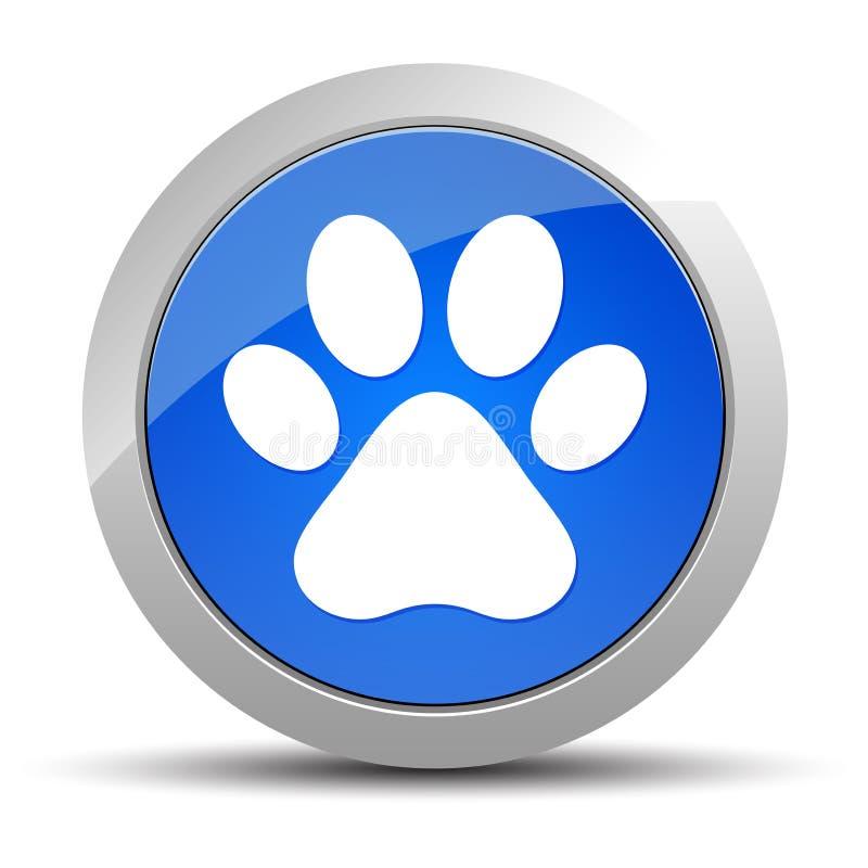 Animal paw print icon blue round button illustration stock illustration