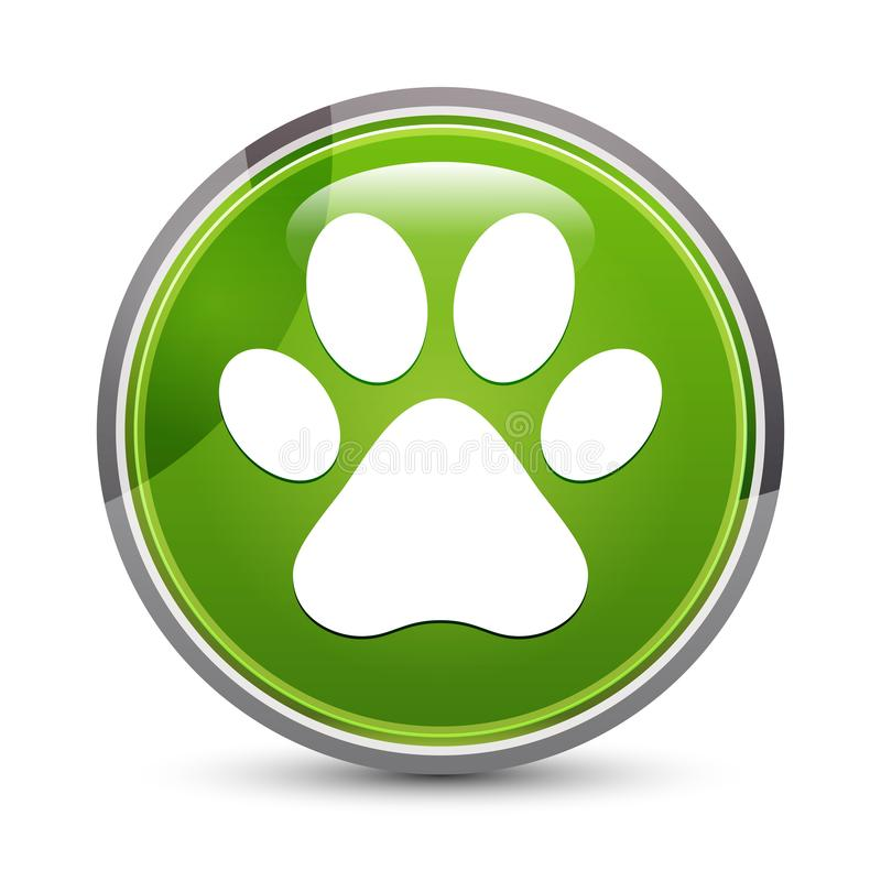 Animal paw print icon elegant green round button vector illustration 向量例证
