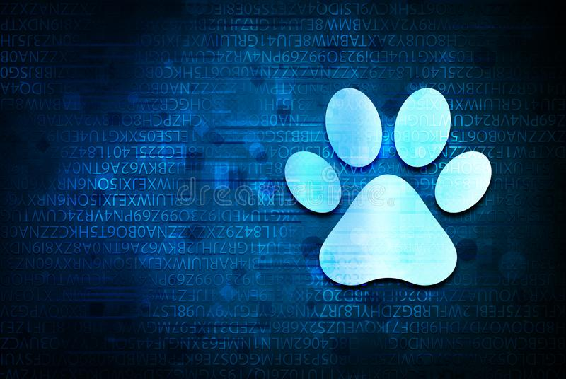 Animal paw print icon abstract blue background illustration design royalty free stock photography