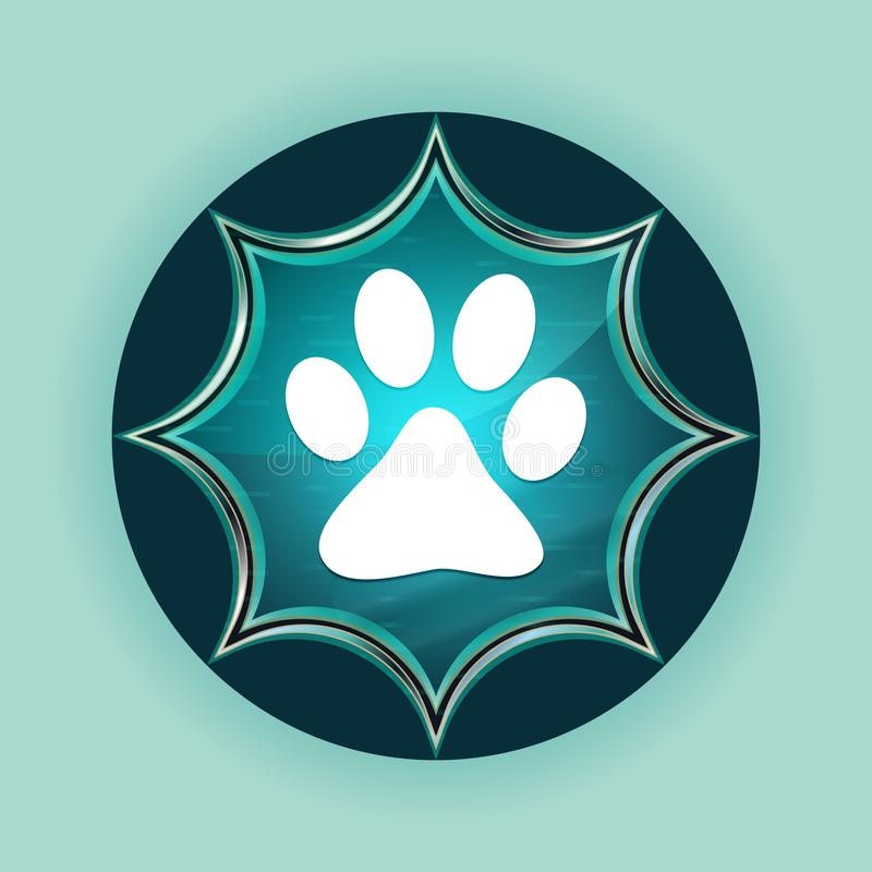 Animal paw print icon magical glassy sunburst blue button sky blue background. Animal paw print icon isolated on magical glassy sunburst blue button sky blue royalty free illustration