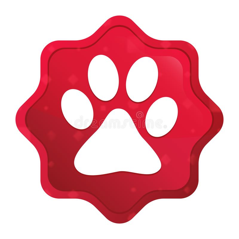 Animal paw print icon misty rose red starburst sticker button royalty free illustration