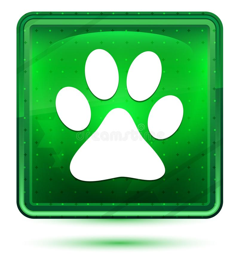 Animal paw print icon neon light green square button. Animal paw print icon isolated on neon light green square button stock illustration