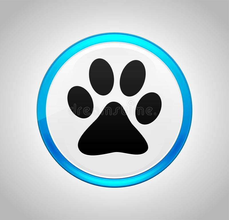 Animal paw print icon round blue push button. Animal paw print icon isolated on round blue push button vector illustration
