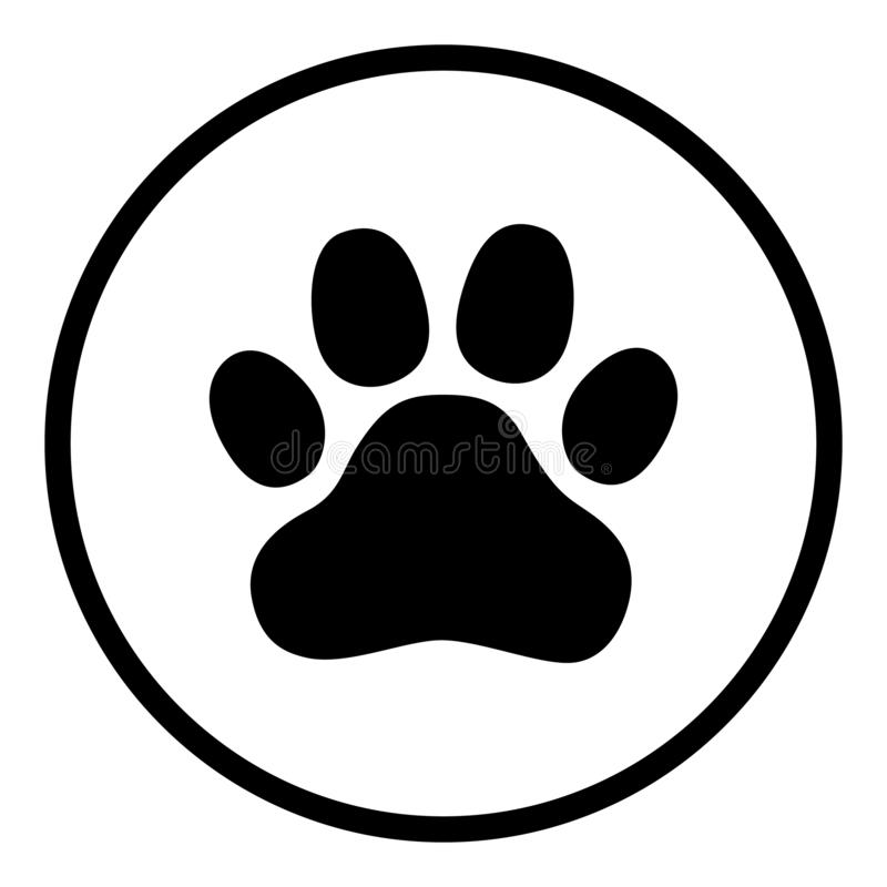Animal paw print icon vector illustration design isolated on flat round button royalty free illustration