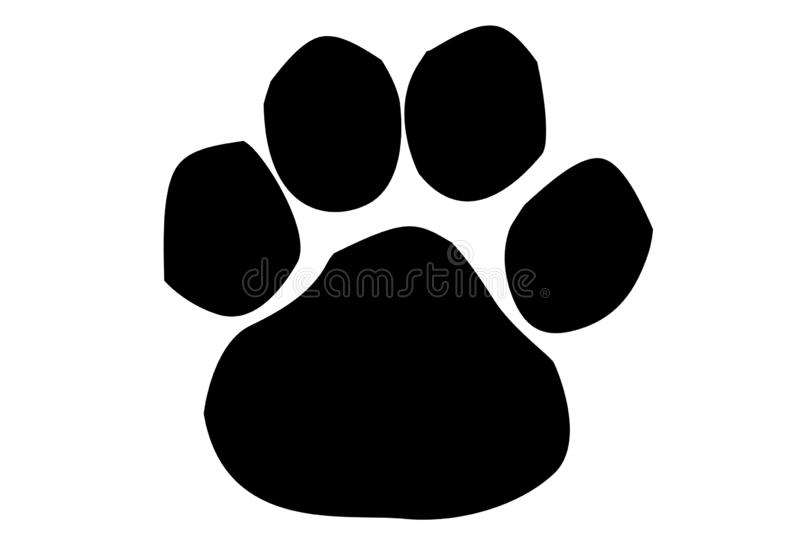 Animal paw print icon on white background. Illustration design. Bear, dog, cat, symbol, silhouette, new, foot, mark, art, drawing, shape, creative, wolf stock photography