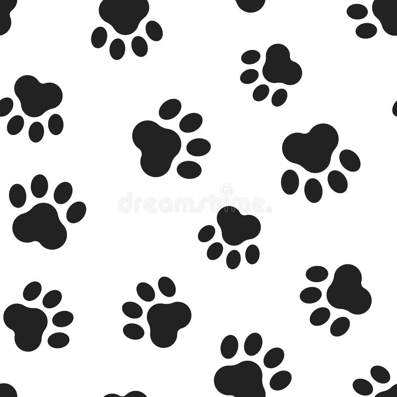 Animal paw print seamless pattern background. Business flat vector illustration. Dog or cat pawprint sign symbol pattern. stock illustration