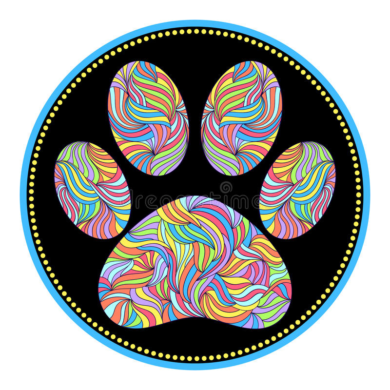 Animal paw print. Vector illustration of abstract animal paw print on black background stock illustration