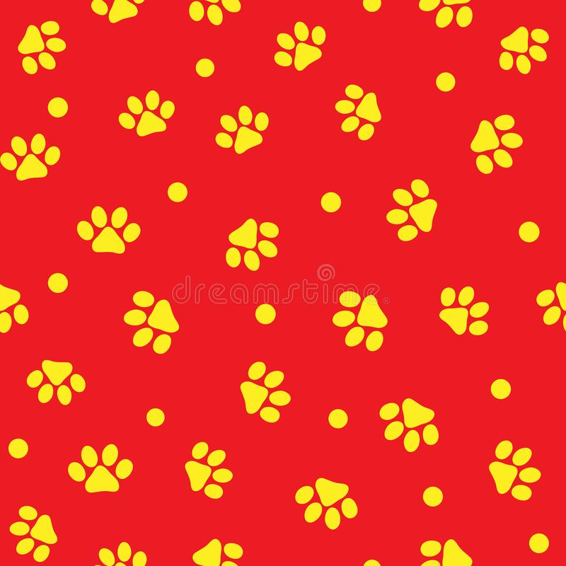 Animal paw prints and round dot. Cute seamless pattern for pets. stock illustration