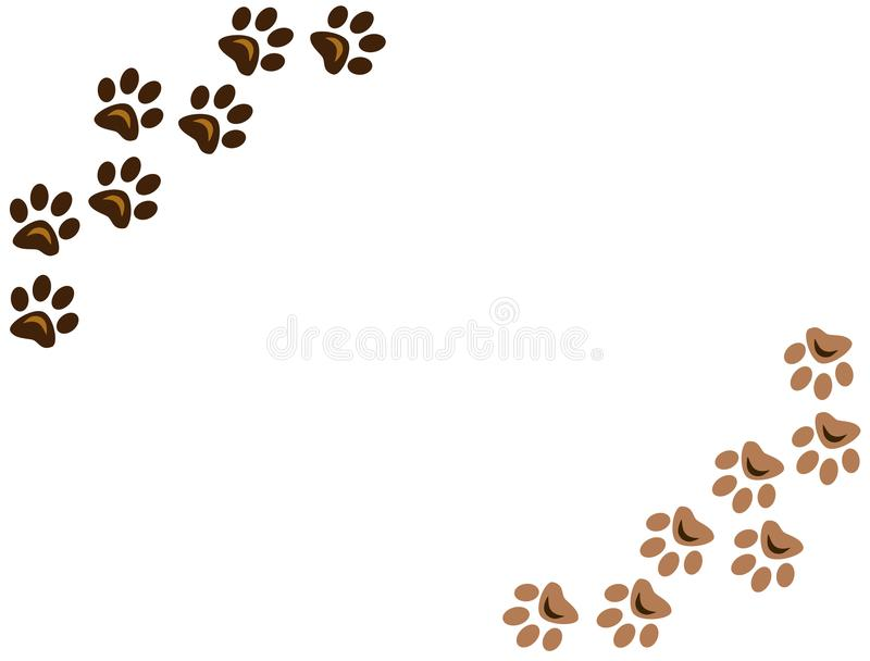 Dog paw prints on white background for your design royalty free stock image