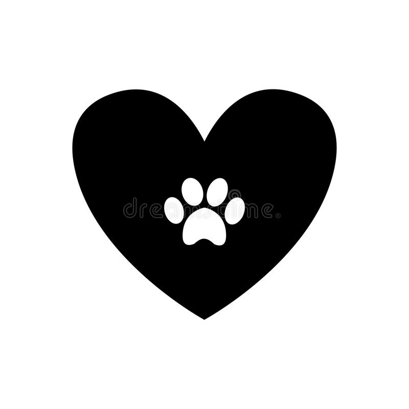 Free Animal Pawprint Inside Black Heart Isolated On White Background. Stock Images - 104466274
