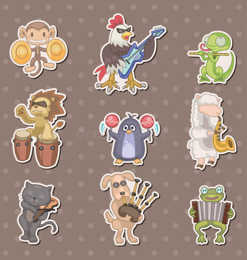 Download Animal play music stickers stock vector. Image of dogs - 24585590