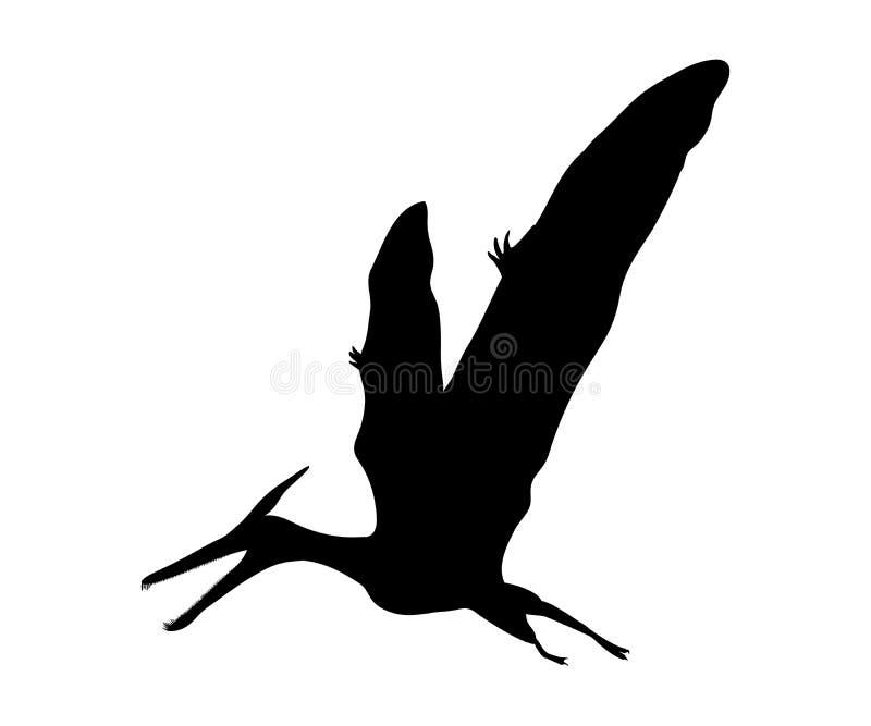 Animal pré-histórico jurássico do dinossauro de Pterosaur da silhueta ilustração do vetor