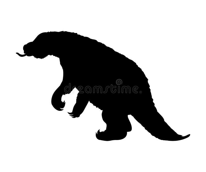 Animal prehistórico extinto del mamífero de la silueta del Megatherium stock de ilustración