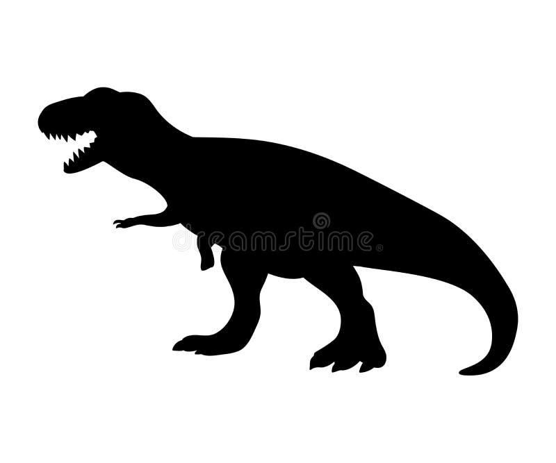 Animal prehistórico jurásico del dinosaurio del tiranosaurio de la silueta stock de ilustración