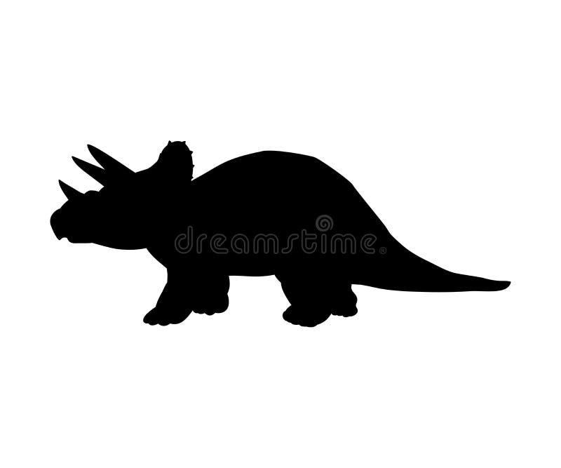 Animal prehistórico jurásico del dinosaurio del Triceratops de la silueta libre illustration