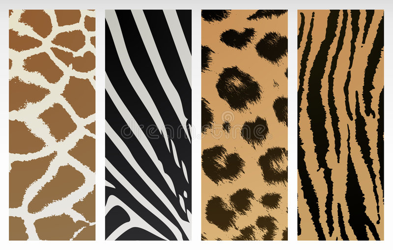 Animal print. Patterns of tiger, leopard, giraffe and zebra stock illustration