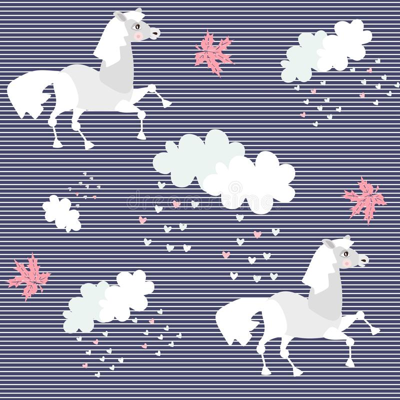 Animal print with cute cartoon horses, maple leaves and clouds on seamless striped background. Beautiful vector illustration.  stock illustration