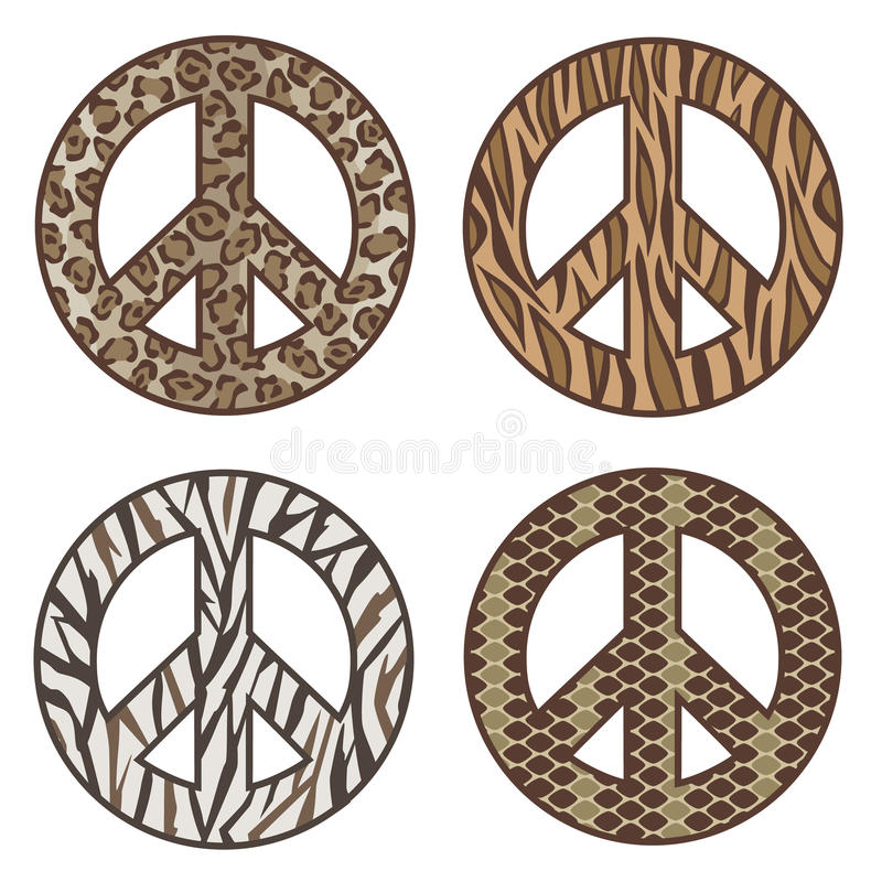 Animal Print Peace Symbols. Vector collection of four animal print peace symbols: Leopard, Tiger, Zebra and Snake vector illustration