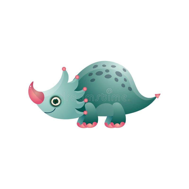 Animal punteado y precioso del dinosaurio colorido lindo del triceratops ilustración del vector