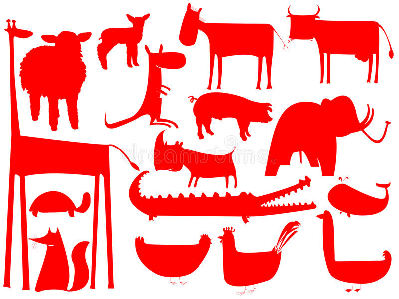 Download Animal Red Silhouettes Isolated On White Stock Vector - Image: 11799316