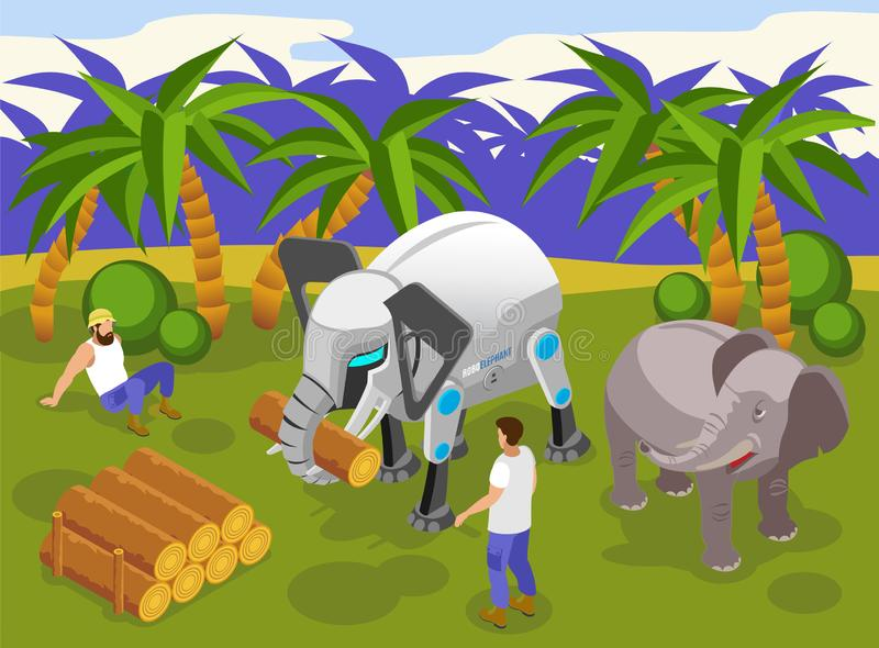 Animal Robots Isometric Composition vector illustration