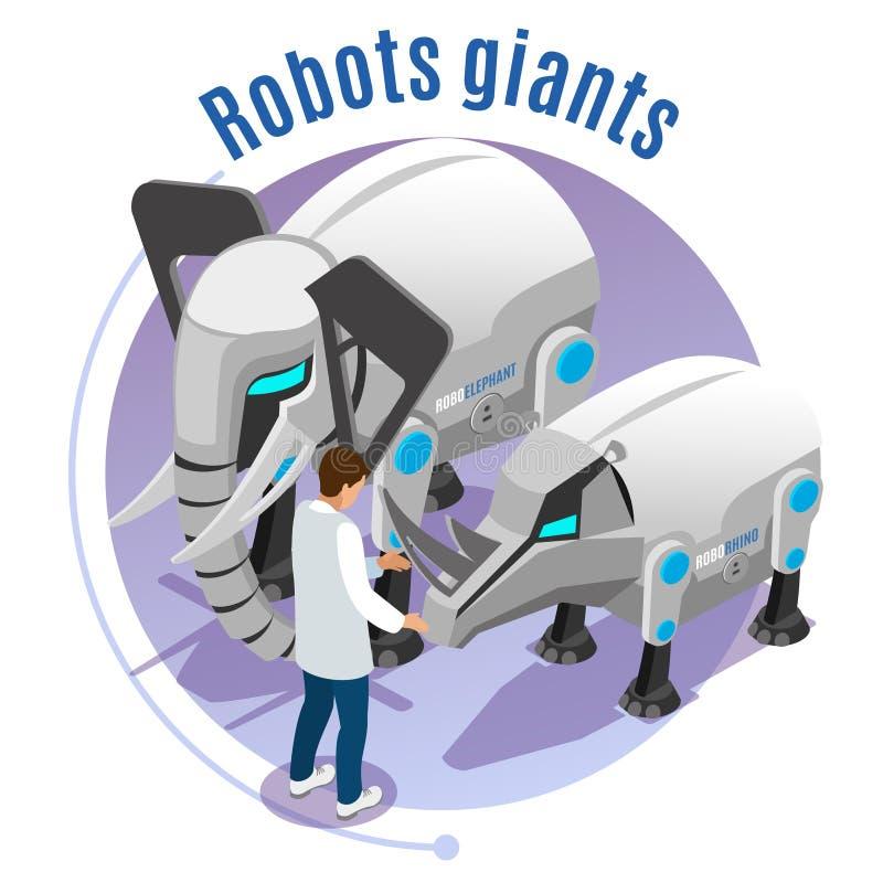 Animal Robots Isometric Emblem vector illustration