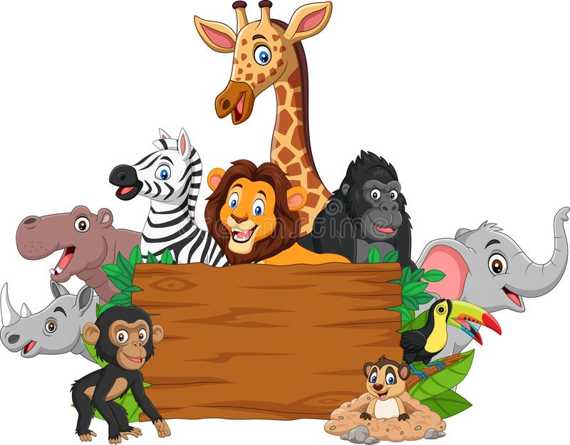 Animal salvaje de la historieta con el letrero en blanco stock de ilustración