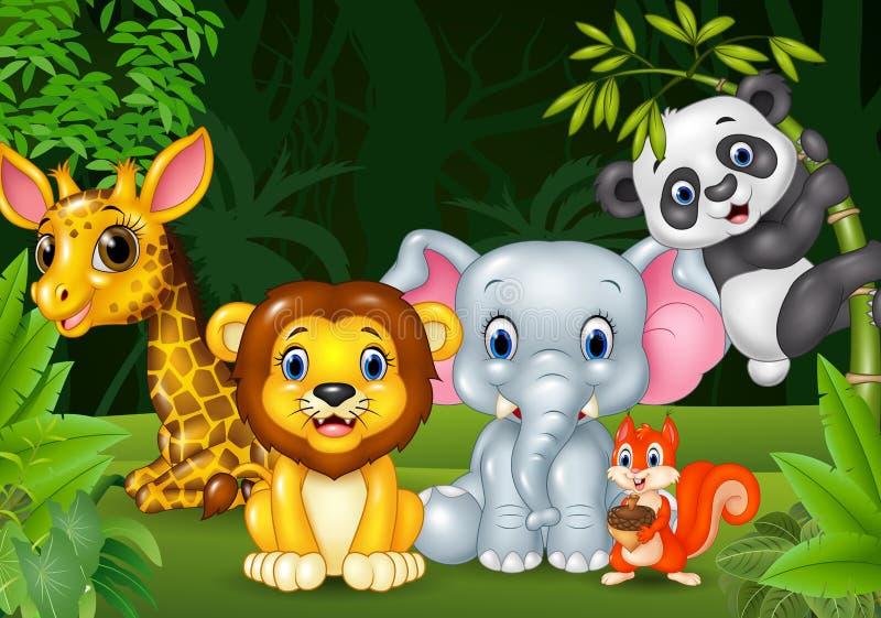 Animal salvaje de la historieta en la selva stock de ilustración