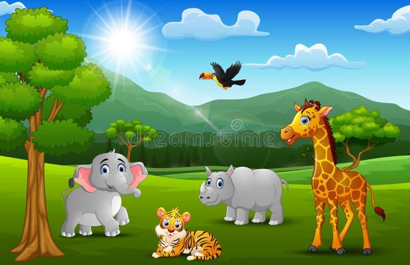 Animal salvaje de la historieta en la selva con un fondo de la montaña stock de ilustración