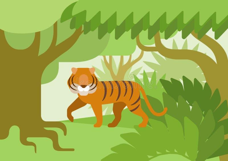 Animal salvaje del diseño del hábitat de la selva del tigre del vector plano de la historieta stock de ilustración