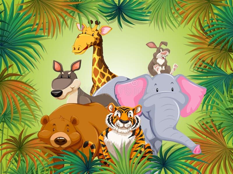 Animal salvaje en fondo grean de la selva libre illustration