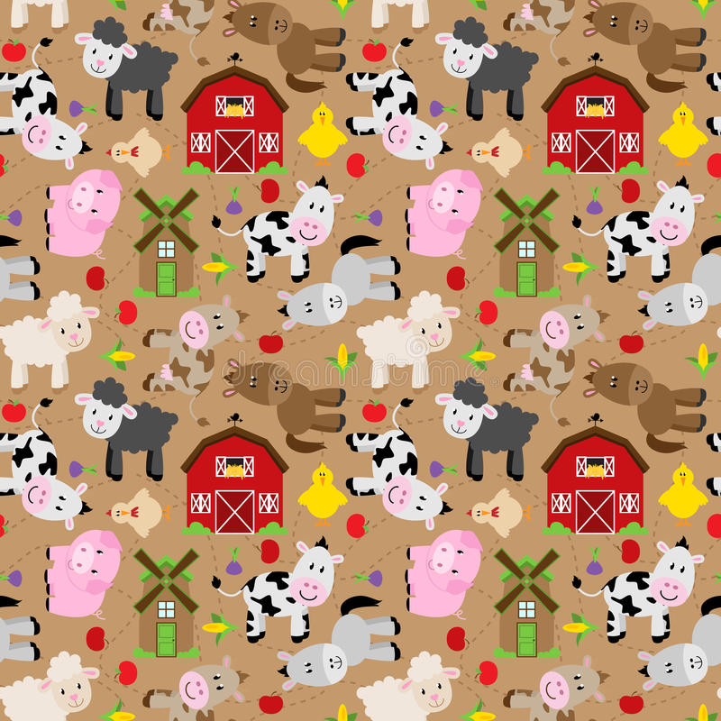 Animal sans couture, de Tileable de ferme et fond de basse-cour illustration stock