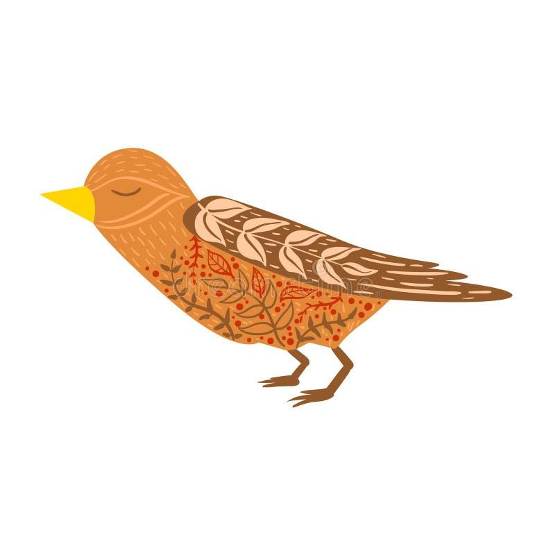 Animal sauvage de bande dessinée décontractée d'oiseau de coucou avec les yeux fermés décorés des motifs et des modèles floraux d illustration libre de droits