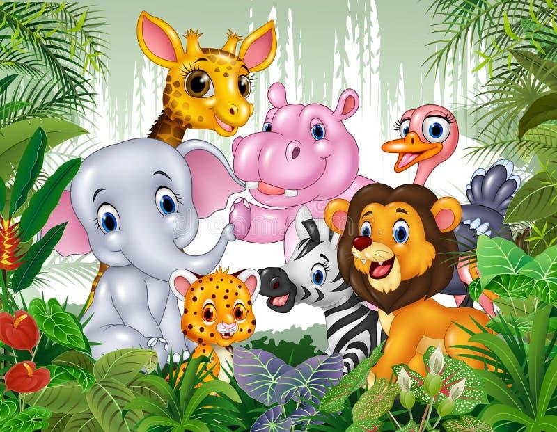 Animal sauvage de bande dessinée dans la jungle illustration de vecteur