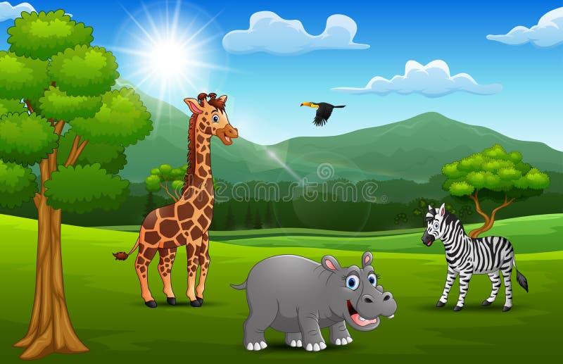 Animal sauvage de bande dessinée dans la jungle avec un fond de montagne illustration libre de droits