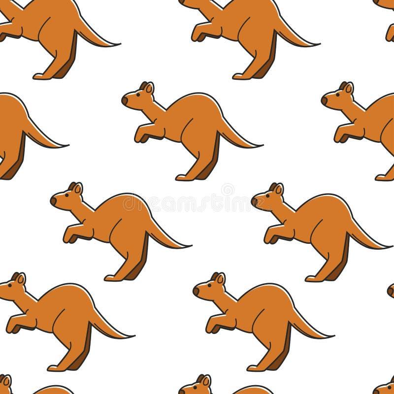 Animal sauvage de modèle sans couture australien de symbole de kangourou illustration stock