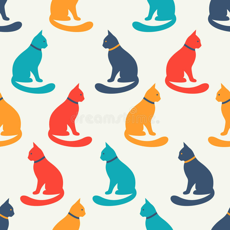 Free Animal Seamless Vector Pattern Of Cat Silhouettes Royalty Free Stock Image - 58431026