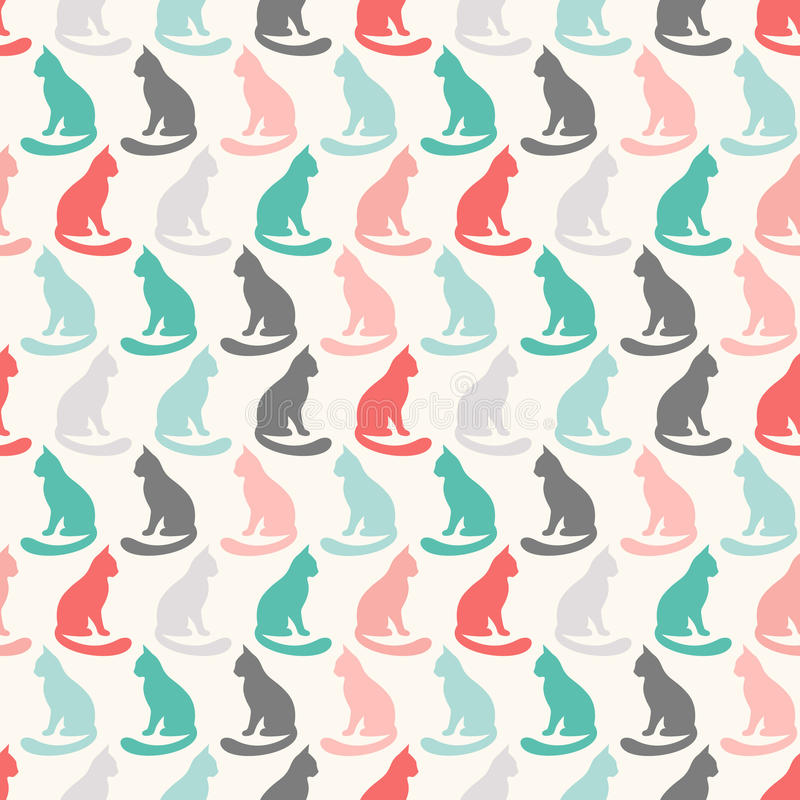 Free Animal Seamless Vector Pattern Of Cat Silhouettes Stock Images - 58917534